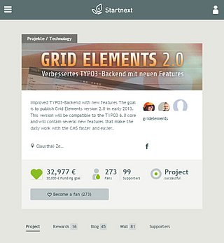 Startnext crowdfunding campaign for Gridelements 2.0