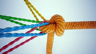 Coloured cords held together by a knotted orange rope