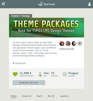 Startnext crowdfunding campaign for TYPO3 Theme Packages