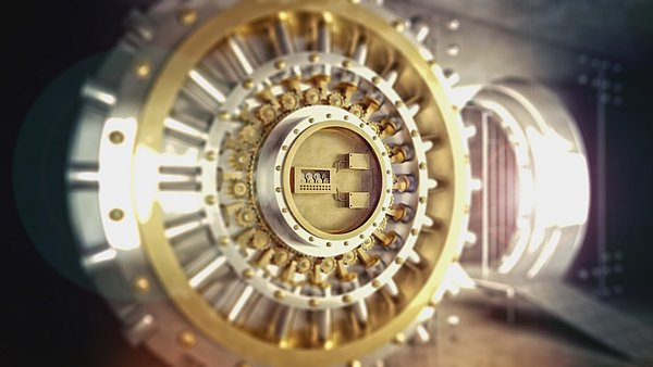 Bank vault with open door